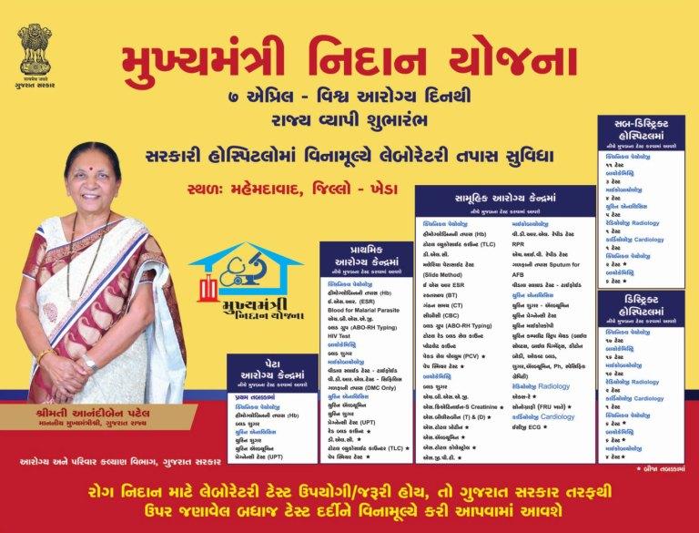 mukhyamantri nidan yojana in gujarat free health checkup