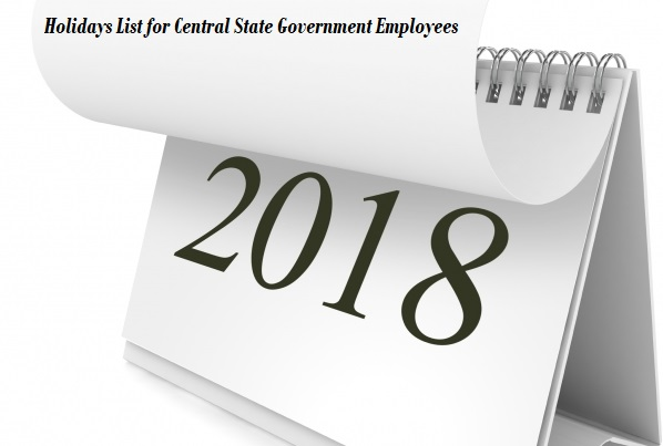 Holidays List for Central State Government Employees